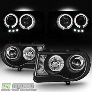 Black 2005 2010 Chrysler 300c Led Drl Halo Projector Headlights 05 10 Left Right