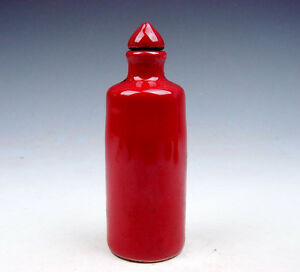 Antique Monochrome Ox Blood Red Porcelain Tube Shaped Snuff Bottle 07141705