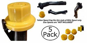 5pk Blitz Replacement Yellow Spout Cap Top Fuel Gas Can 900302 900092 900094