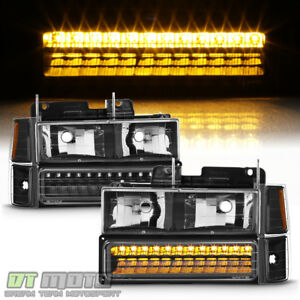 Black 1994 1999 Chevy Silverado C10 Tahoe Suburban Headlights Led Bumper Corner