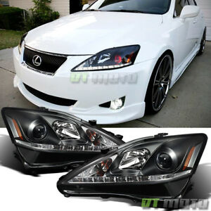 For 2006 2010 Lexus Is250 Is350 Black Led Drl Projector Headlights Left Right