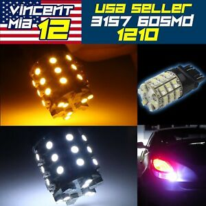 10x 3157 60smd Dual Color Switchback White Amber Turn Signal Led Light Bulbs