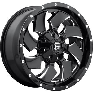 20x10 Black Milled Fuel Cleaver D574 Wheels 8x6 5 18 Lifted Fits Ford