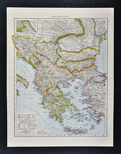 1887 Andrees Map Greece Balkans Athens Bulgaria Romania Istanbul Turkey