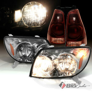 03 05 4runner Smoked Headlights Tinted Smoke Red Tail Lights Assembly L r