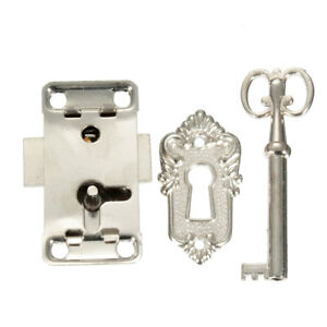 Vintage Antique Classical Drawer Cabinet Wardrobe Cupboard Door Iron Lock Key