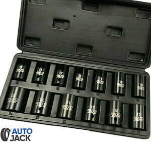 Air Impact Wrench Socket Set 13 Piece 1 2 Square Drive Sq Dr Metric 10 24mm