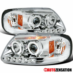 For 1997 2003 Ford F150 Expedition Led Halo Rims Projector Headlights Head Lamps