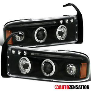 For 1994 2001 Dodge Ram 1500 Black Clear Led Drl Strip Halo Projector Headlights