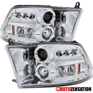 For 2009 2018 Dodge Ram Clear Lens Led Drl Halo Rims Projector Headlights Lamps