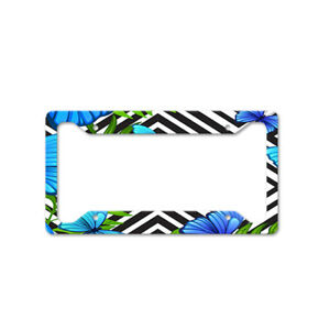 Blue Butterflies And Flowers Auto Car License Plate Frame Tag Holder 4 Hole