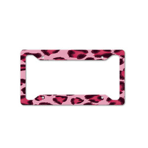 Pink Leopard Design Auto Car License Plate Frame Tag Holder 4 Hole