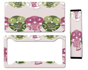 Cute Owls Auto Car License Plate Frame Seat Belt Cover Gift Set
