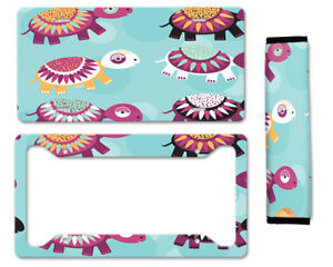 Cute Animal Auto Car License Plate Frame Seat Belt Cover Gift Set