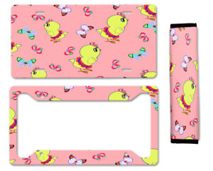 Cute Chicks With Butterfly Auto Car License Plate Frame Seat Belt Cover Gift Set