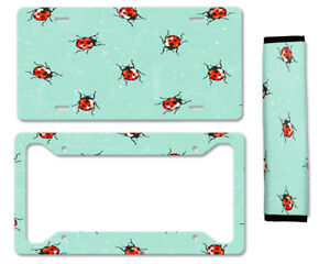 Ladybugs Pattern Auto Car License Plate Frame Seat Belt Cover Gift Set