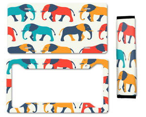 Cute Colored Elephants Auto Car License Plate Frame Seat Belt Cover Gift Set