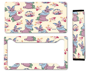 Cute Cartoon Rabbits Auto Car License Plate Frame Seat Belt Cover Gift Set