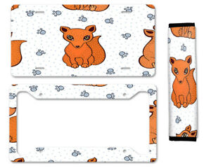 Cute Fox Auto Car License Plate Frame Seat Belt Cover Gift Set