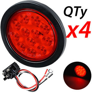 4x 4 Inch Red 12 Led Round Stop Turn Tail Light Grommet Wiring For Rv Truck