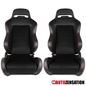 2x Black Jdm Suede pvc Leather Red Stitch Speed Racing Seats slider