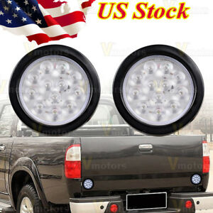 2x Clear 4 Round 12 Led White Truck Trailer Reverse Backup Tail Turn Light 12v