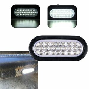 1x 6 Oval Clear White 24 Led Reverse Back Up Light Surface Mount Trailer Truck