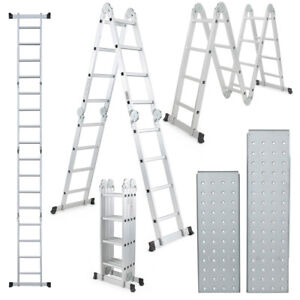 15 5 Ft Multi Purpose Aluminum Folding Step Platform Scaffold Ladder 330lbs New