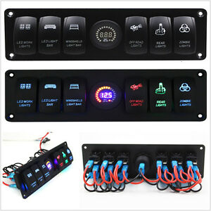 Dc12 24v Off road Boat Rv Rocker Switch Panel Blue Led Voltmeter 2usb Waterproof