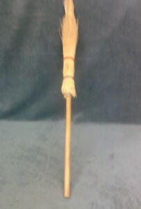 Vintage Whisk Hearth Golden Straw Wood Handle Witch Style Broom 41 3