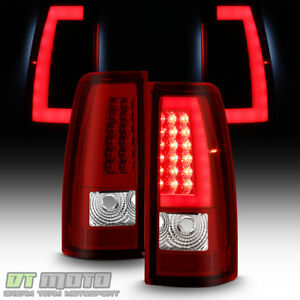 2003 2004 2005 2006 Chevy Silverado Red Led Tail Lights W Led Bar Brake Lamps