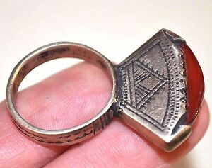Antique Tuareg Tribal Etched Metal Ring Carnelian Stone Niger Africa Ring Size 9