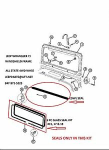 Jeep Wrangler Yj 87 95 Windshield Frame Cowl Glass Seals 4pc Kit