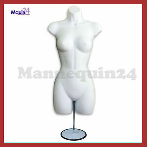White Mannequin Female Torso Dress Form W Metal Stand Hook For Hanging