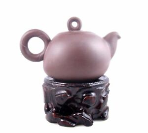 Yixing Zisha Clay Teapot Round Hoop Handle Circle Lid Tea Brewing 250ml