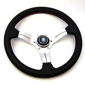 Nardi Leather Sport Rally Deep Corn Steering Wheel W Red Stitch 6069 33 1093