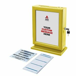 Adir Wood Yellow Suggestion Donation Box Plexiglases W Refill Cards