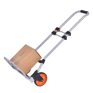 Folding Hand Truck Cart Easy Storage Transport Ergonomic Handle Large Pp Wheels