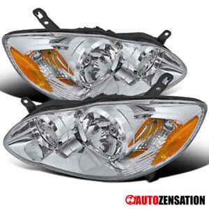 For 03 08 Toyota Corolla Clear Crystal Headlights Chrome Head Lamps Pair