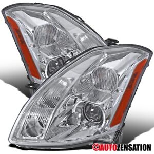 Fits 2004 2006 Nissan Maxima Halogen Type Chrome Clear Projector Headlights Pair