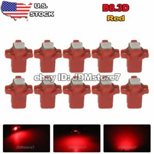 10x Red B8 3d Bulbs For Dashboard Gauge Climate Dash Panel Cluster Led Light