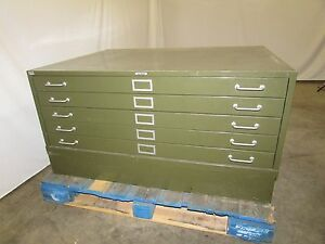 Lyon 5 drawer Flat File Cabinet Map Blueprint Cabinet 43x32x24 Used Olive Green