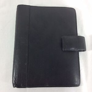 Black Leather Samsonite Unstructured Planner Compact Organizer Franklin Covey