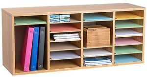 Adiroffice Wood Oak 24 Compartment Adjustable Literature Organizer