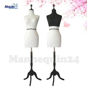 Women Dress Form With Black Half Top Cover Wooden Stand Female Torso Display