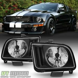 Black 2005 2006 2007 2008 2009 Ford Mustang Headlights Headlamps Left Right Pair