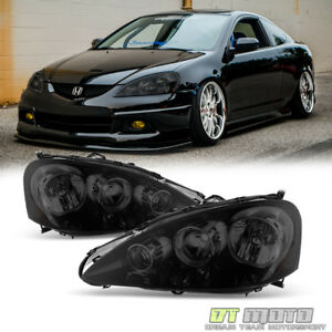 Black Smoked 2005 2006 Acura Rsx Headlights Lamps Left right Replacement 05 06