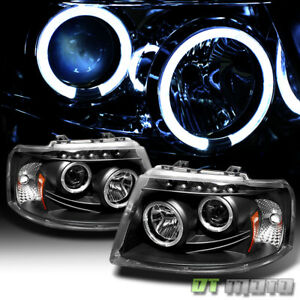 Blk 2003 2006 Ford Expedition Led Halo Projector Headlights Headlamps Left Right