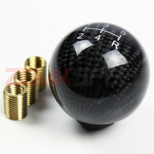 M8 M10 M12 5 Speed Ball Shaped Real Carbon Fiber Manual Shifter Lever Shift Knob