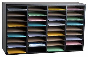 Adiroffice Black 36 Compartment Wood Adjustable Literature Organizer School